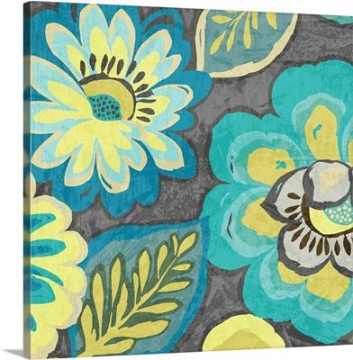 Floral Assortment Teal on Dark Grey Crop II