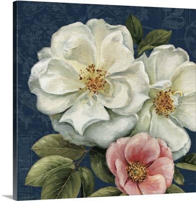 Floral Damask III on Indigo