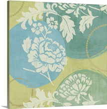 Floral Decal Turquoise I