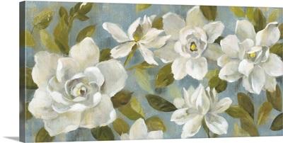 Gardenias on Slate Blue