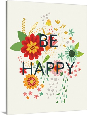 Groovy Florals II - Be Happy