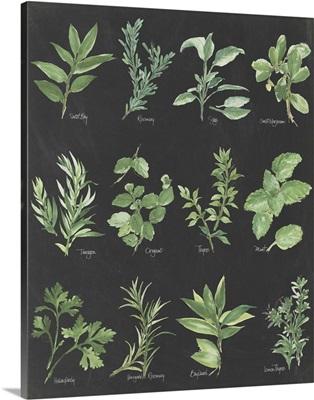 Herb Chart on Black