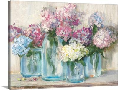 Hydrangeas in Glass Jar Pastel Crop