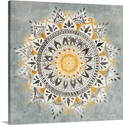 Mandala Delight I Yellow Grey