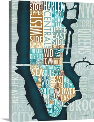 Manhattan Map in Blue and Brown