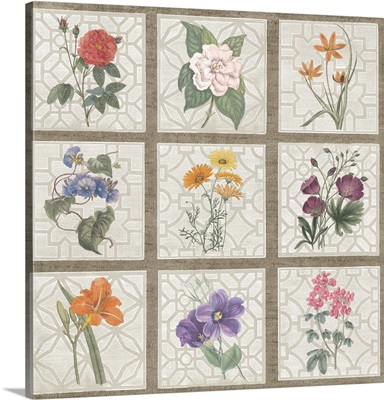 Monument Etching Tile Flowers Square I