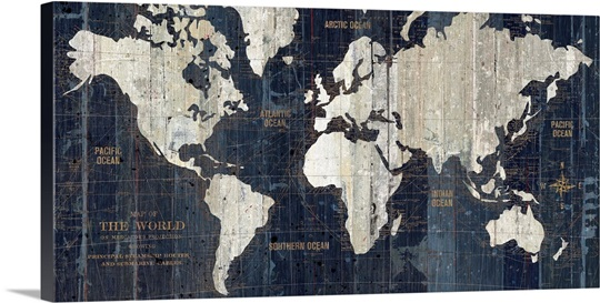 Old world map blue wall art canvas prints framed prints wall old world map blue sciox Gallery