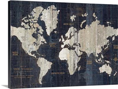 Old World Map Blue Crop