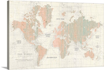 Old World Map Blush and Mint
