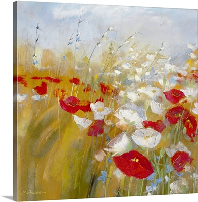 Poppies and Larkspur I