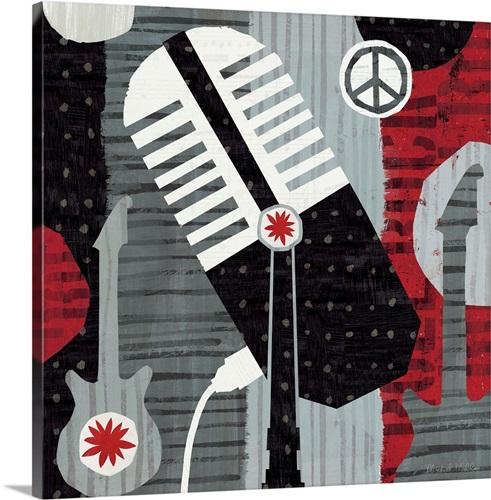 Rock \'n Roll Mic Wall Art, Canvas Prints, Framed Prints, Wall Peels ...