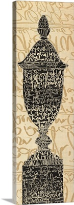 Scripted Urn II - Black and Beige