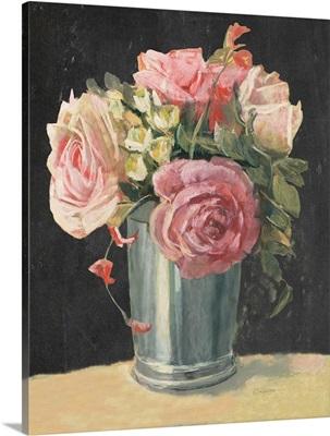 Silver Vase II on Black