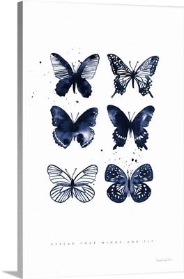 Six Inky Blue Butterflies