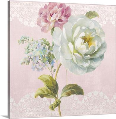 Textile Floral Square I Blush