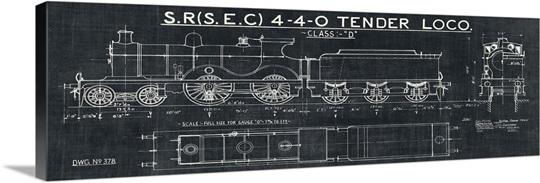 Train blueprint ii black wall art canvas prints framed prints train blueprint ii black malvernweather Choice Image