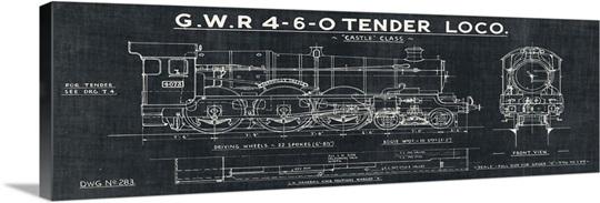 Train blueprint iii black wall art canvas prints framed prints train blueprint iii black malvernweather Gallery