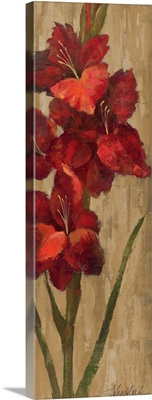 Vivid Red Gladiola on Gold