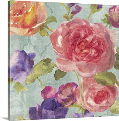 Watercolor FLoral I on Grey