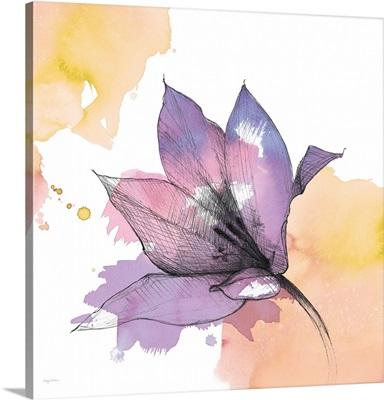 Watercolor Graphite Flower IX