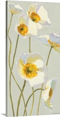 White on White Poppies Panel I