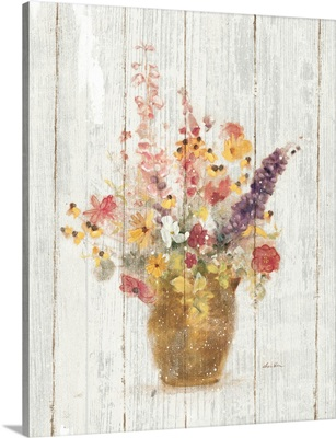 Wild Flowers in Vase I on Barn Board