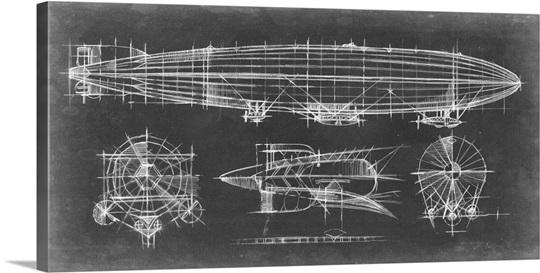 Airship blueprint wall art canvas prints framed prints wall peels airship blueprint malvernweather Gallery