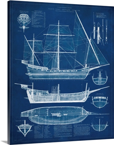 Antique ship blueprint i wall art canvas prints framed prints antique ship blueprint i malvernweather Images
