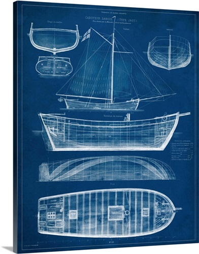 Antique ship blueprint ii wall art canvas prints framed prints antique ship blueprint ii malvernweather Image collections