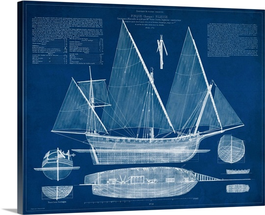 Antique ship blueprint iii wall art canvas prints framed prints antique ship blueprint iii malvernweather Image collections