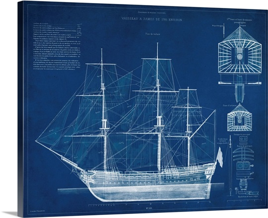 Antique ship blueprint iv wall art canvas prints framed prints antique ship blueprint iv malvernweather Image collections