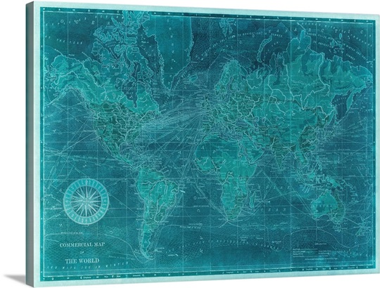 Azure world map wall art canvas prints framed prints wall peels azure world map gumiabroncs Choice Image