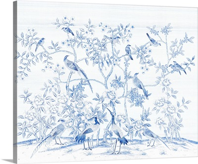 Bird Party In Blue Porcelain