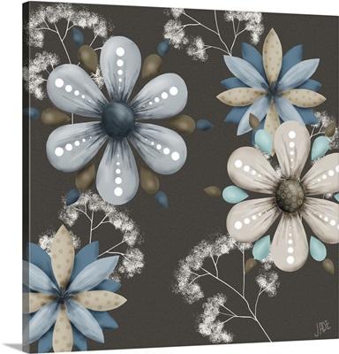 Blue Floral on Sepia I