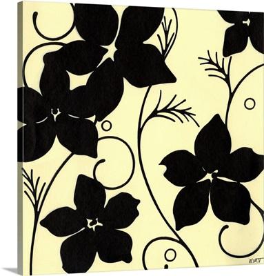 Cream with Black Flowers