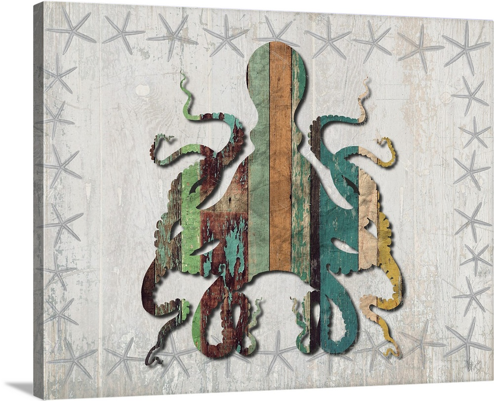 Distressed Wood Style Octopus