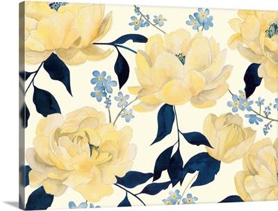 Fleurs D'or et Bleu I