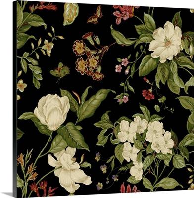 Garden Floral on Black I