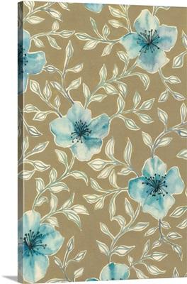 Gilded Blue Flowers I