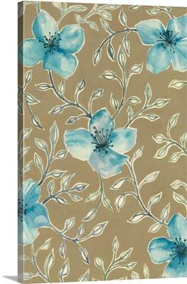 Gilded Blue Flowers II