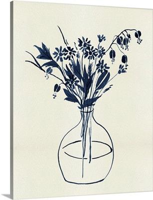 Indigo Floral Vase I