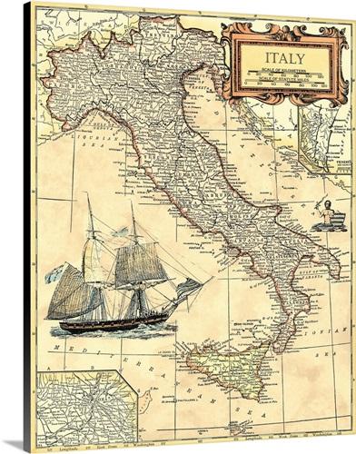 Italy Map Wall Art, Canvas Prints, Framed Prints, Wall Peels   Great ...