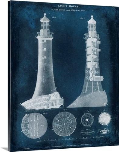 Lighthouse blueprint wall art canvas prints framed prints wall lighthouse blueprint malvernweather Images