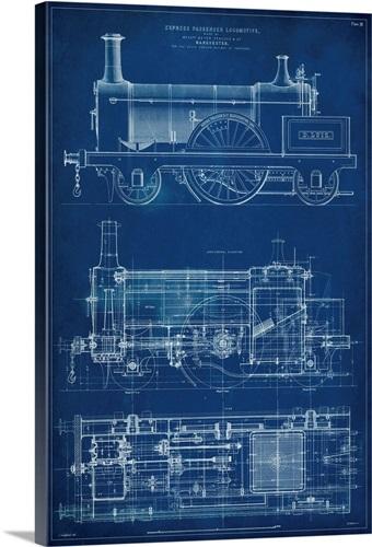 Locomotive blueprint i wall art canvas prints framed prints wall locomotive blueprint i malvernweather Gallery