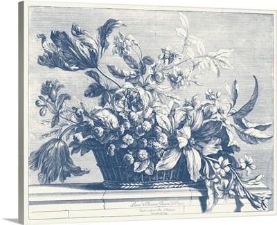 Navy Basket of Flowers I
