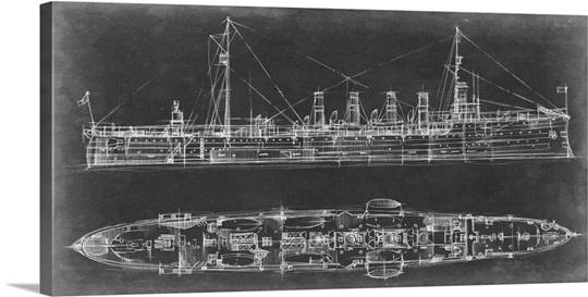 Blueprint Wall Art navy cruiser blueprint wall art, canvas prints, framed prints