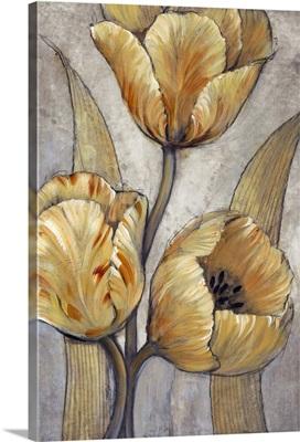 Ochre and Grey Tulips I