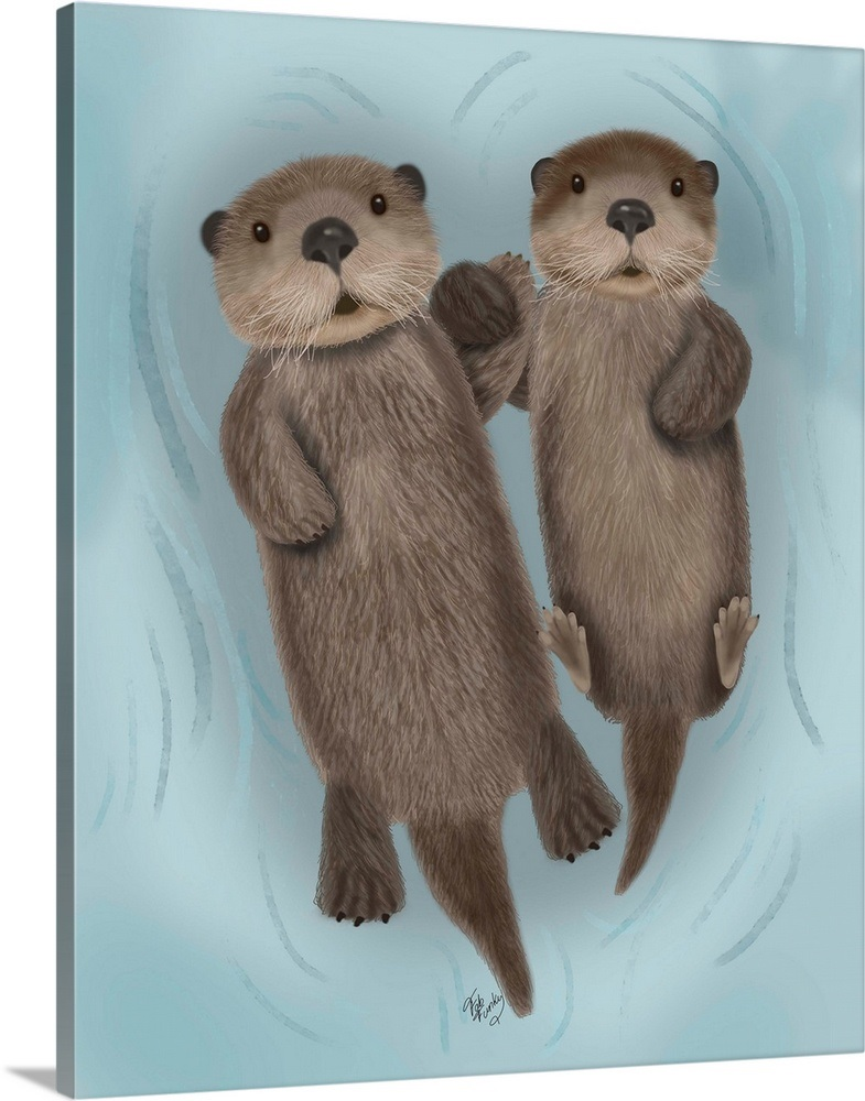 Otters Holding Hands Wall Art Canvas Prints Framed Prints Wall
