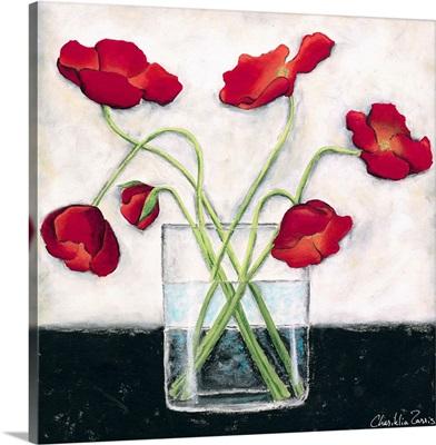 Printed Modern Poppies I