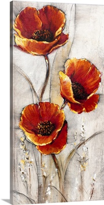 Red Poppies on Taupe I